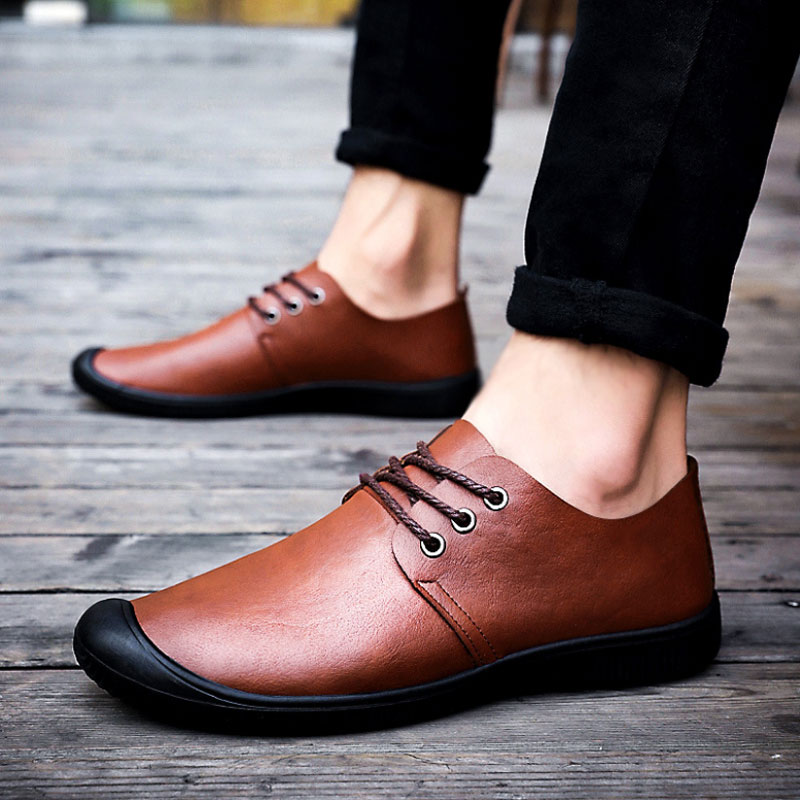 Casual Men Leather Dress Shoes Mens Brown Black Loafers Comfortable Leather Moccasins Driving Shoes Elevator Shoes For Men