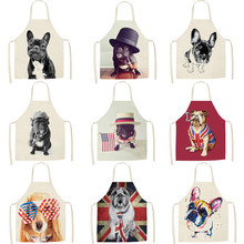 Dachshund Kitchen Apron Pinafore Bulldog Bib Cleaning-Tools Linen Cooking Cotton Dinner