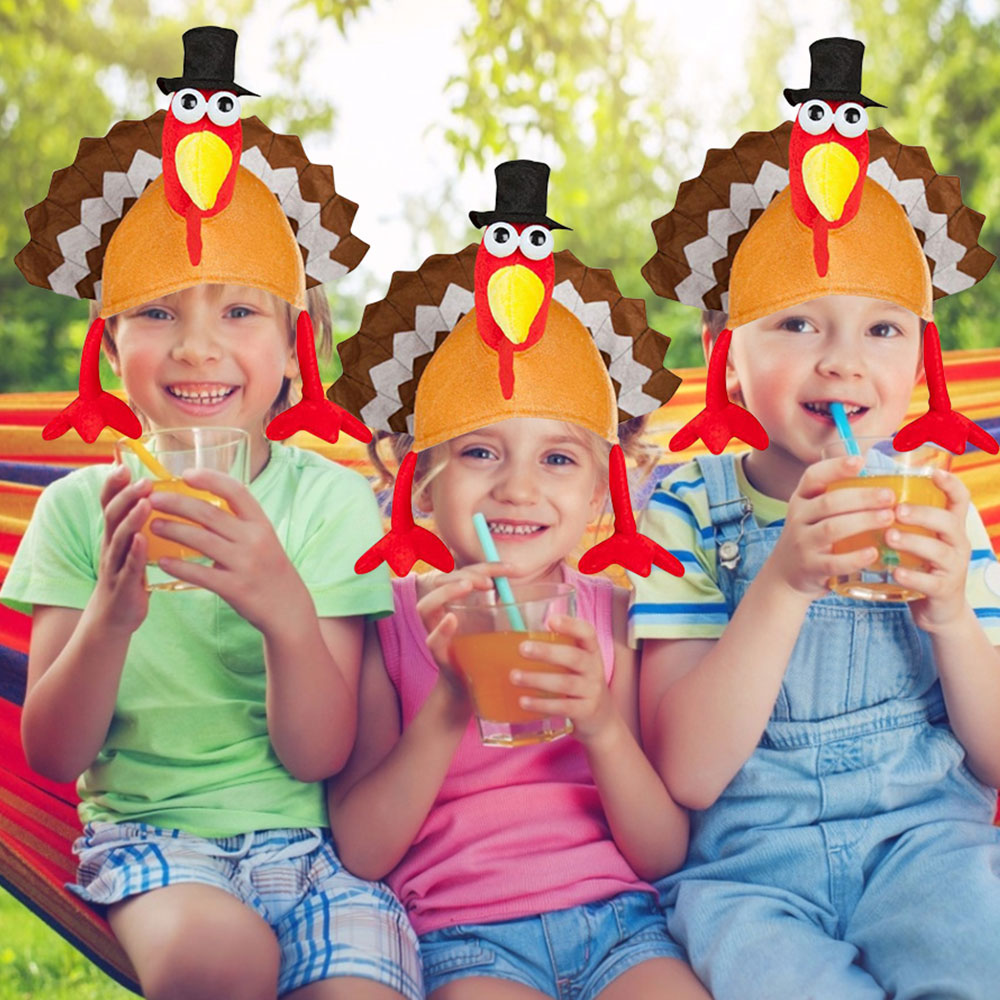 Children Cartoon Headwear Thanksgiving Decoration Hat Festival Accessories Turkey Costume Headband Funny Party Decorations