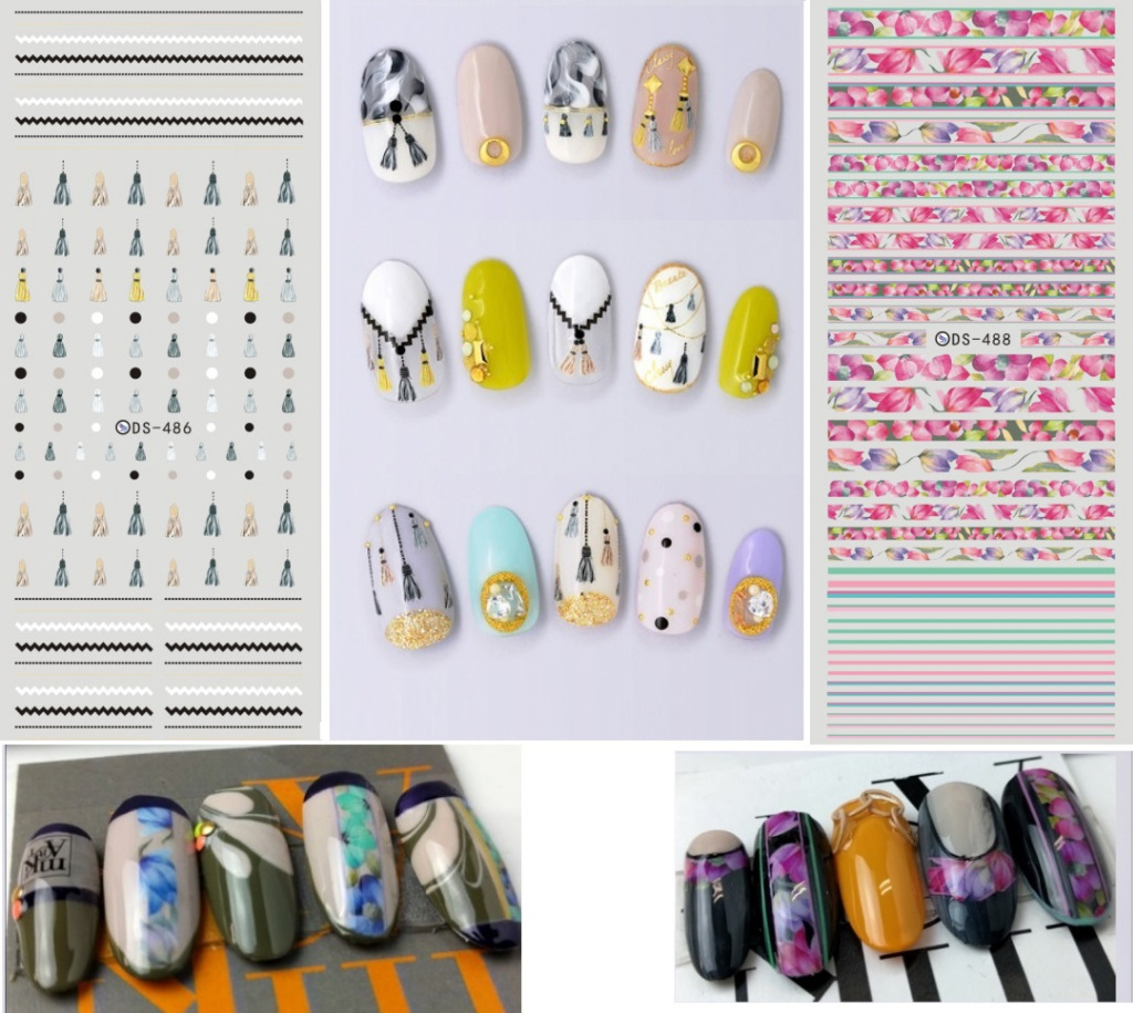 Top Form Brand Watermarking Adhesive Paper Flower Stickers Nail Christmas Smiley Nail Sticker DS486-492