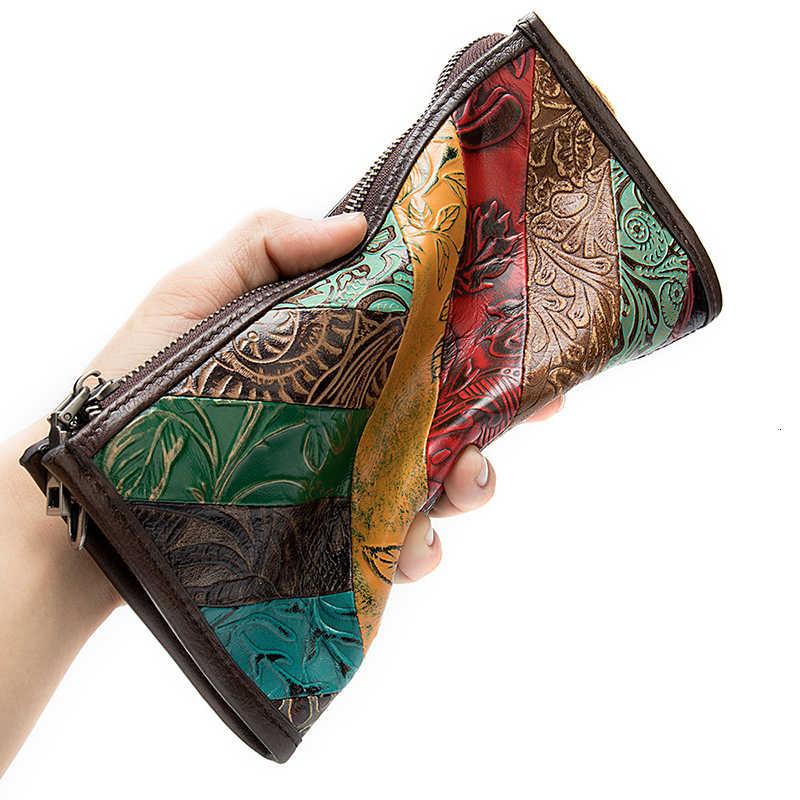 2020 Wanita Dompet Ponsel Saku RFID Memblokir Dompet Kulit Asli Wanita Panjang Tas Genggam Dompet dan Mewah