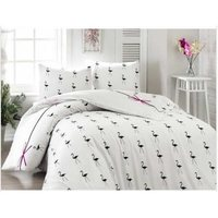 Easy to Be Ironed Duvet cover set Double Personality Flamingo White