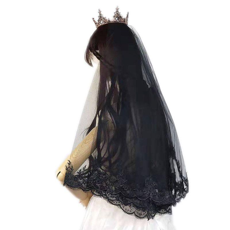 Women Black Wedding Veil Embroidered Mantilla Floral Lace Trim Cosplay Headdress
