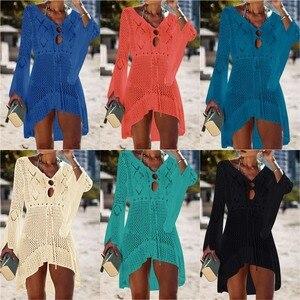 Image 4 - 2020 Summer Women Beachwear Sexy White Crochet Tunic Beach Wrap Dress Woman Swimwear Swimsuit Cover ups Bikini Cover Up #Q719
