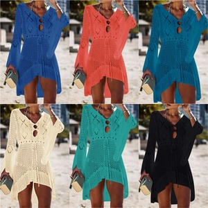 Image 4 - 2020 Zomer Vrouwen Beachwear Sexy Witte Gehaakte Tuniek Strand Wrap Jurk Vrouw Badmode Badpak Cover Ups Bikini Cover Up # Q719