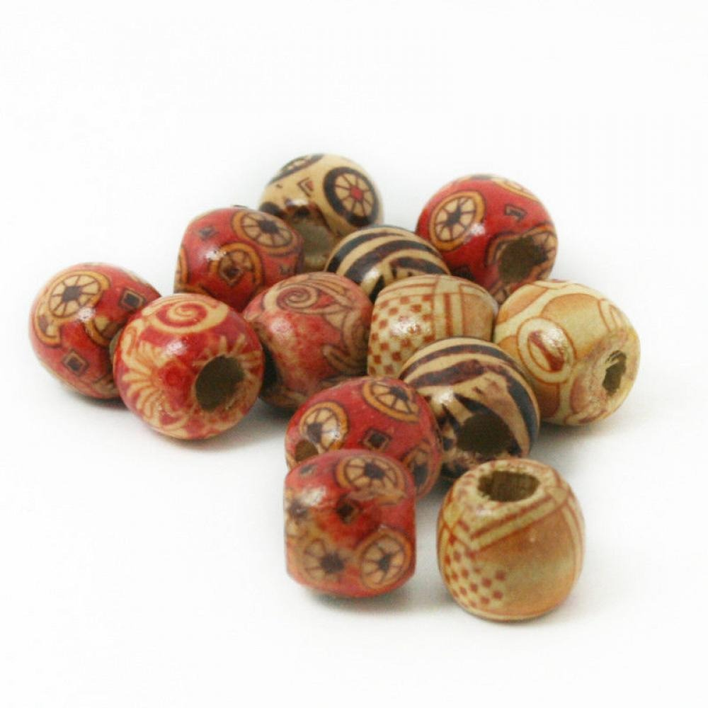 100PCS 10mm Big Size Hole Wooden Hair Beads Wood African Hair Braid Tube Rings Dreadlock Accessories Hair Jewelry For Dreadlock