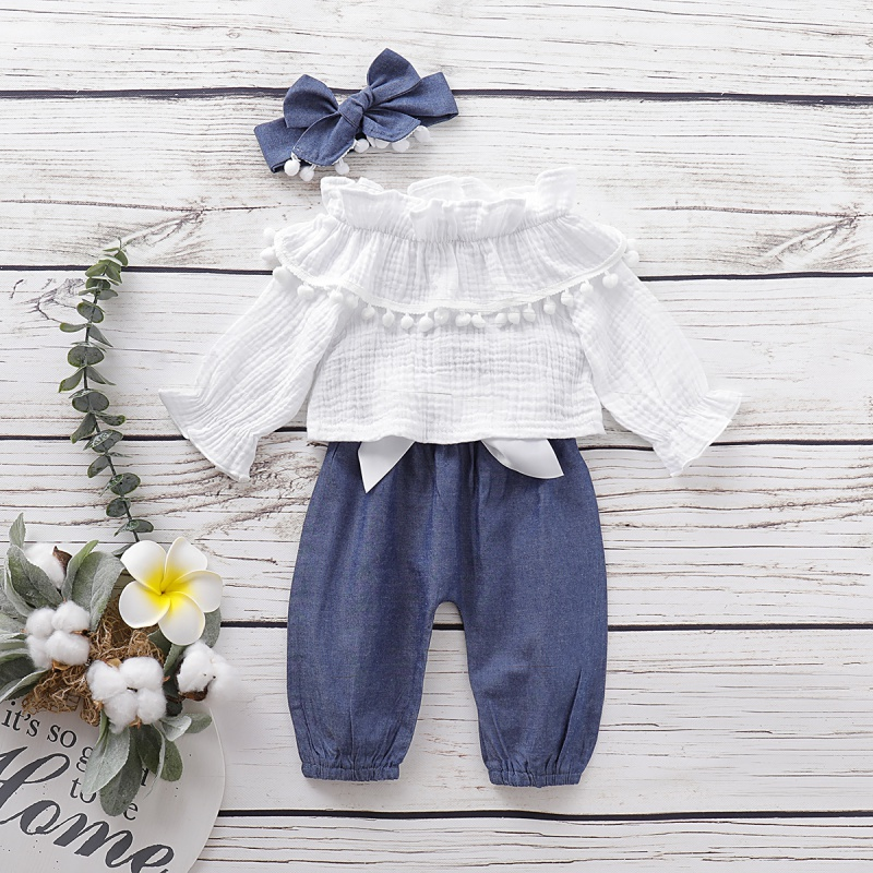Autumn Baby Girl Adorable Flare Sleeve T-shirt Tops Trousers Headband Outfits Clothes 1-4T