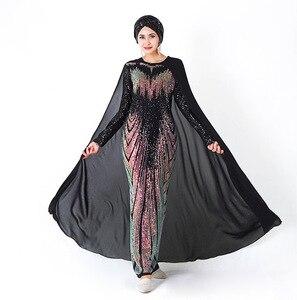 Muslim fashion abaya Sequins Long dress with cape America fashion clothing dubai turkey muslim evening islam kaftan abaya MSL855