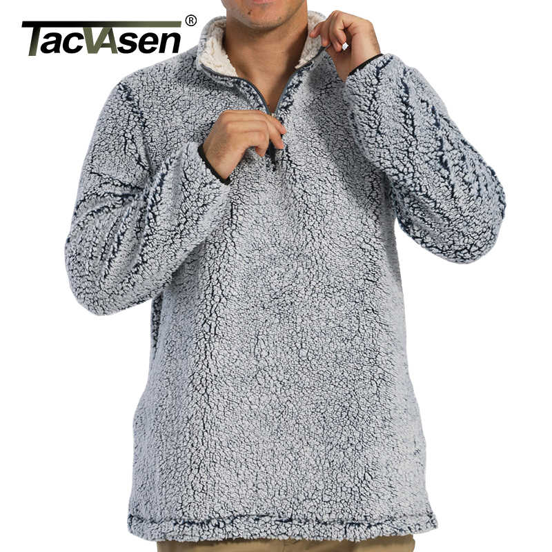 Tacvasen 1/4 Zip Sweatercoat Uomini Morbido Inverno Gelido Maglione in Pile Pullover di Modo Casual Sherpa Maglione Uomini Giacca Cappotti