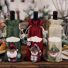 2019 Xmas New Year Party Table Decorations Christmas Santa Claus Snowman Wine Bottle Cover Gift Bag with Drawstring Linen Craft 2018 4pcs set new year snowflake santa claus snowman linen drawstring gift bag christmas decoration dinner table supplies