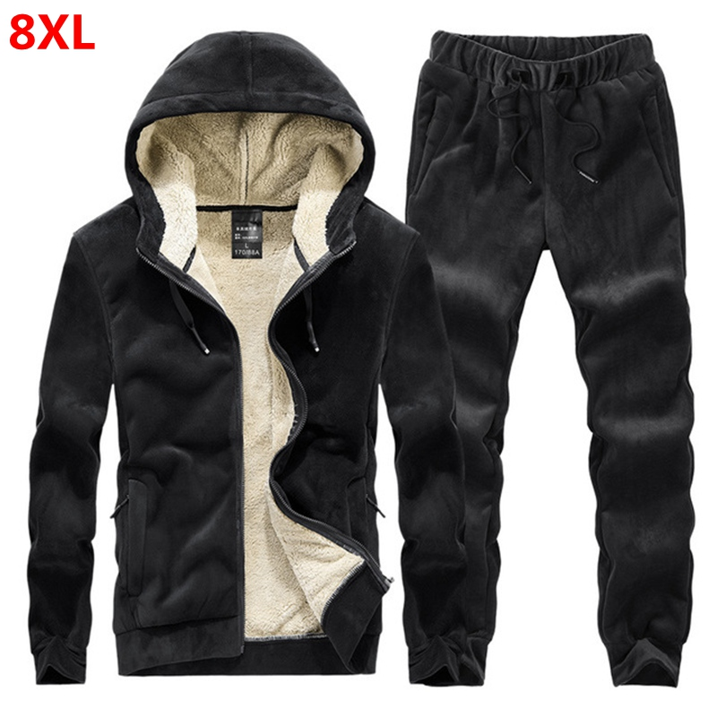 Winter Warm Sweatjogging Suit Men's Hooded Sweater Velvet Pants 125kg Sports Suit Plus Velvet Thick Large Size Male 7XL