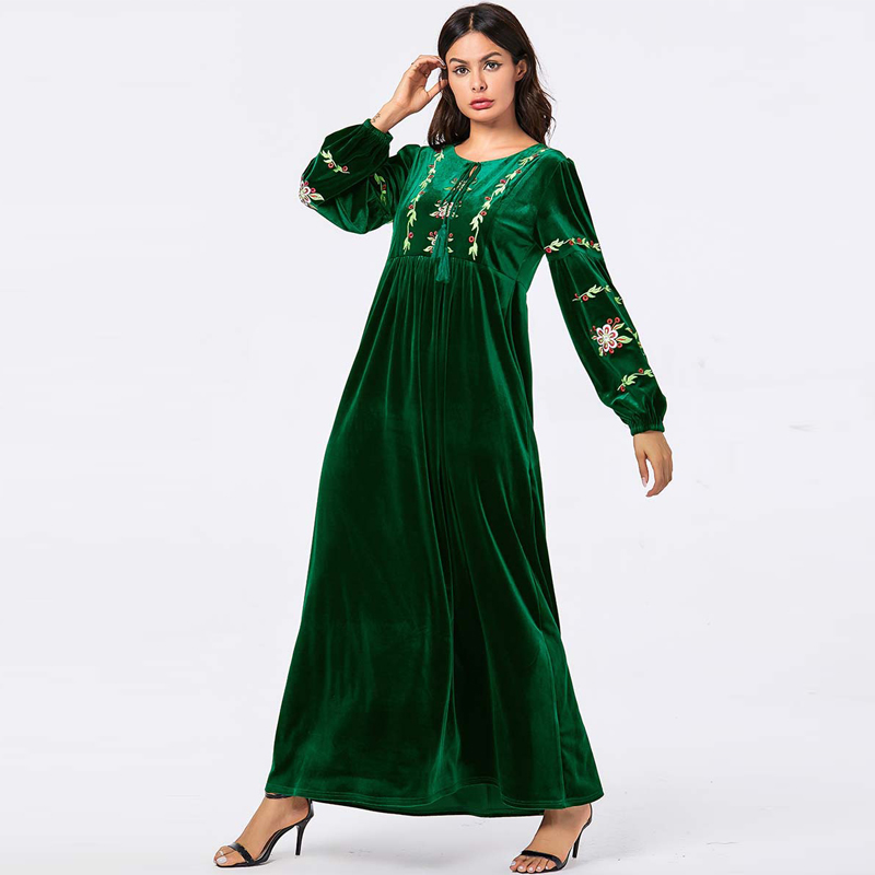 Velvet Vestidos Turkey Abaya Islamic Long Hijab Muslim Dress Arabic Dresses Kaftan Tesettur Elbise Robe Musulmane Longue Caftan