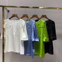 Silk Women White / Black / Green / Blue Color Fashion Blouse O neck Half Sleeve Pullover Simple Hot Sale Shirt 2020 Summer