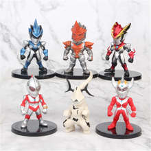 6pcs/set Ultraman Alliance Tyro Rosso Bruce Superman Capsule Model Toy 7.5CM
