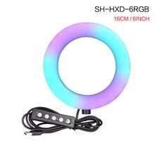 6 pouces rvb LED vidéo anneau lumière Selfie anneau lampe 15 couleurs 3 modèle avec trépied prise USB pour YouTube en direct maquillage photographie