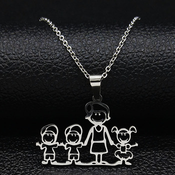 Unisex Family Necklace Jewelry Necklaces Women Jewelry Metal Color: 1mom 2boy1girl