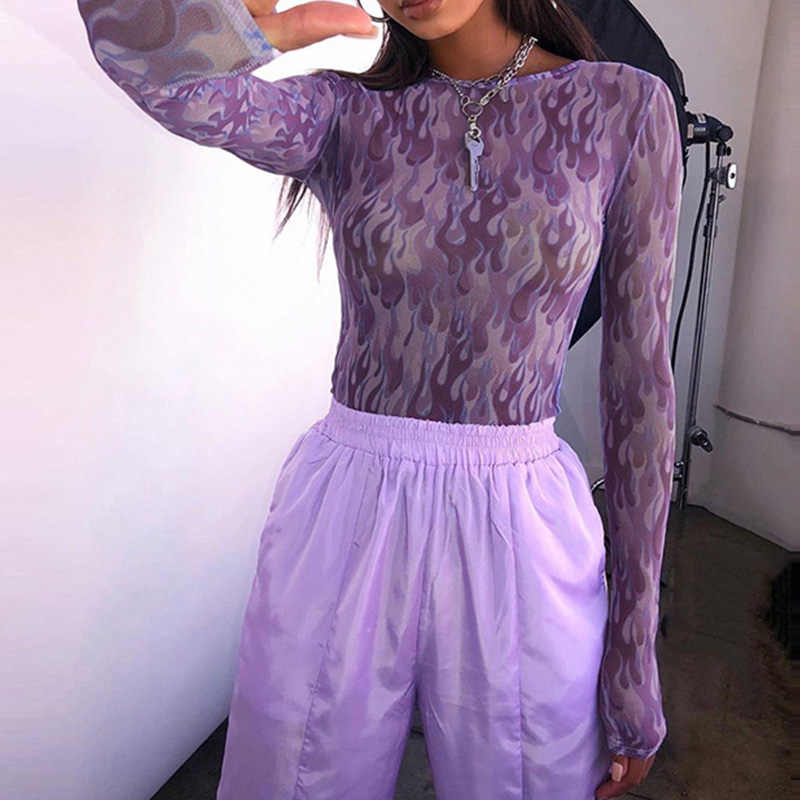 Frauen Mesh Flamme Print Stretch Lila TShirts Hip Hop Perspektive Langarm Dame T-Shirts 2020 Sommer Streetwear Bodenbildung Top