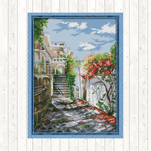 Garden Villa Cross Stitch Patterns Landscape Painting Aida Fabric for Embroidery Kit 14CT 11CT Printed Canvas DMC DIY Needlework