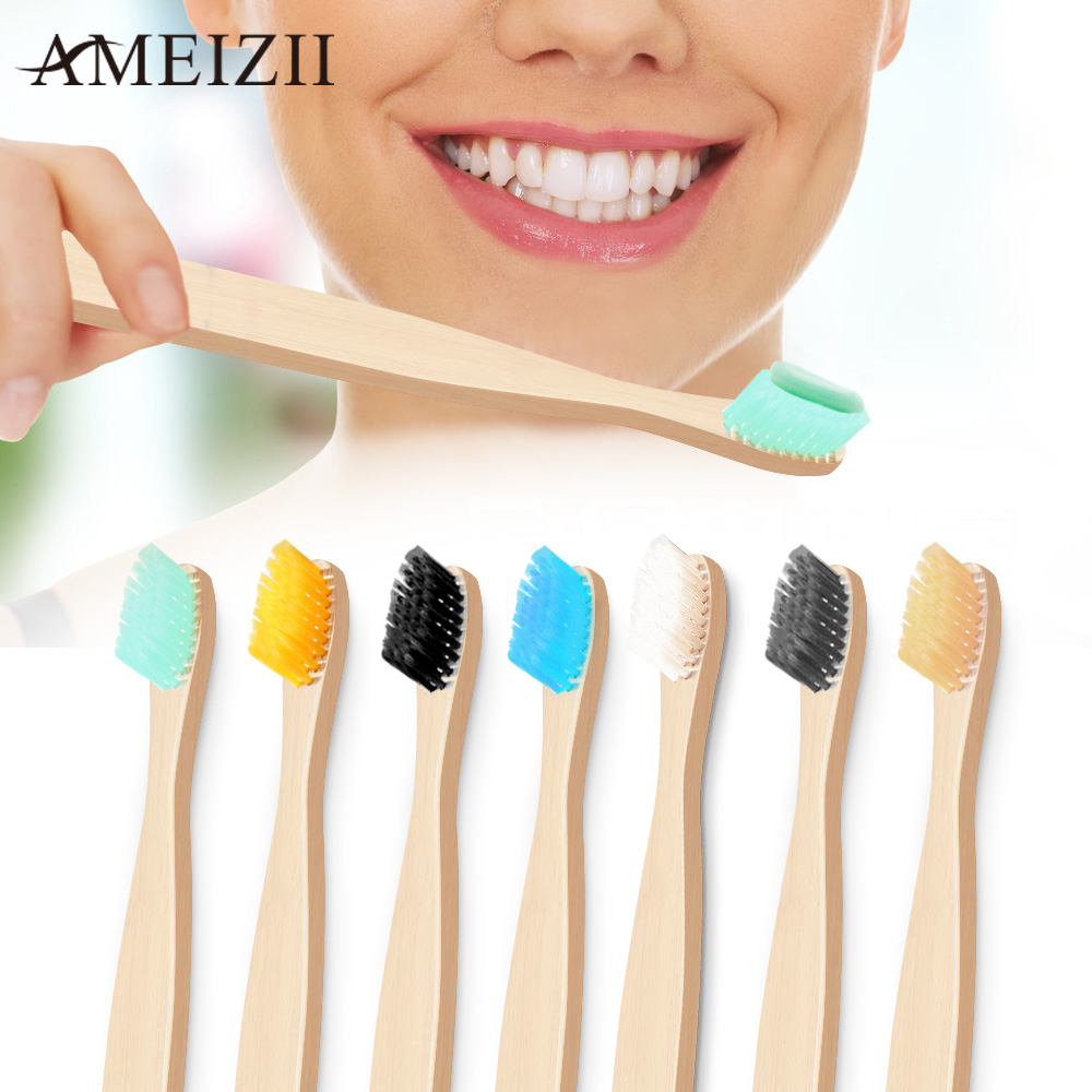 AMEIZII Colorful Natural Bamboo Handle Toothbrush Rainbow Teeth Whitening Personal Health Care Soft Eco-friendly Oral Hygiene image
