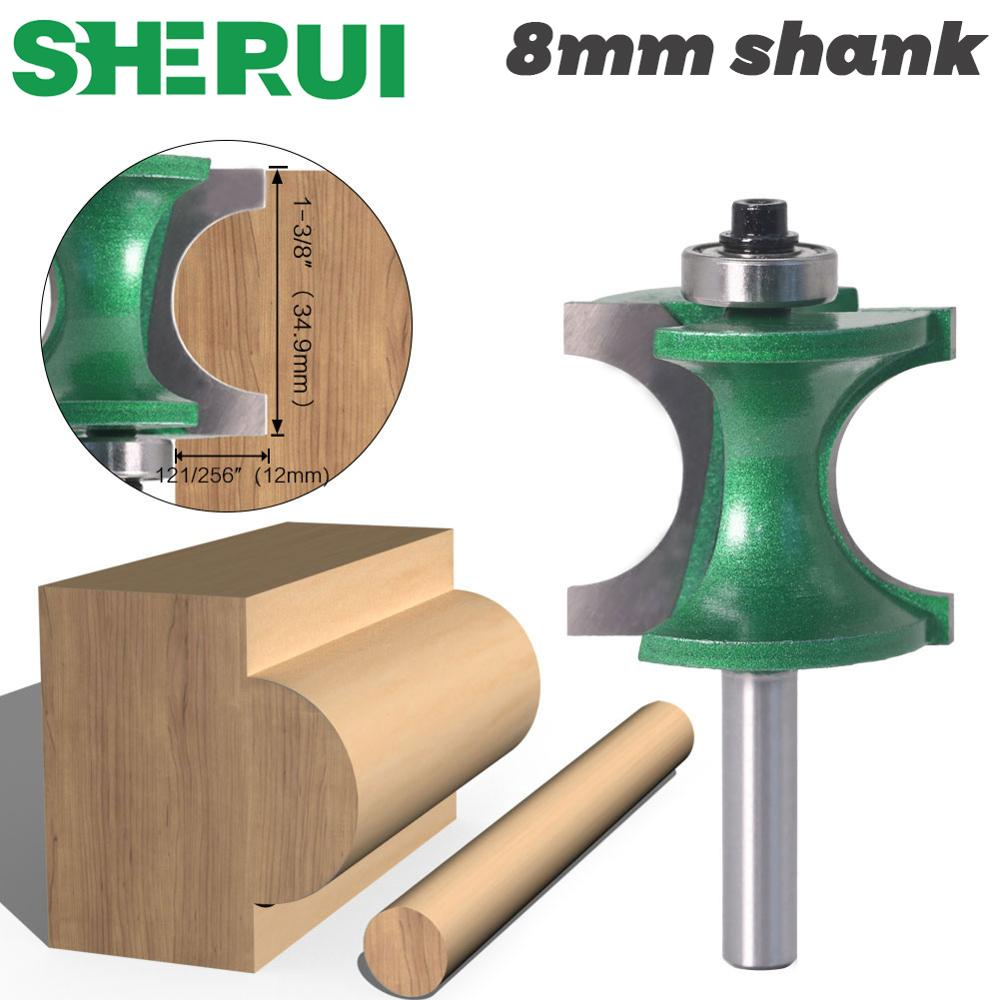 SHERUI 1PCS 8mm Shank Bullnose Half Round Bit Endmill Router Bits Wood 2 Flute Bearing Woodworking Tool Milling Cutter