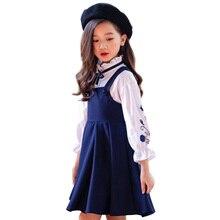 Conjunto de ropa para niña, blusa bordada + vestido, traje de otoño para niña, conjunto informal para niño, ropa para adolescentes y Niñas 4 6 8 12, 2 uds.