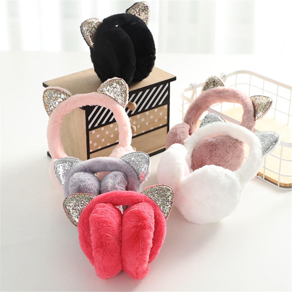 2020 Sequin Folding Cat Ears Earmuffs For Women And Girls Plush Fur Ear Warmer Bun With Glitter Headband 3D Cartoon Earmuffs#P