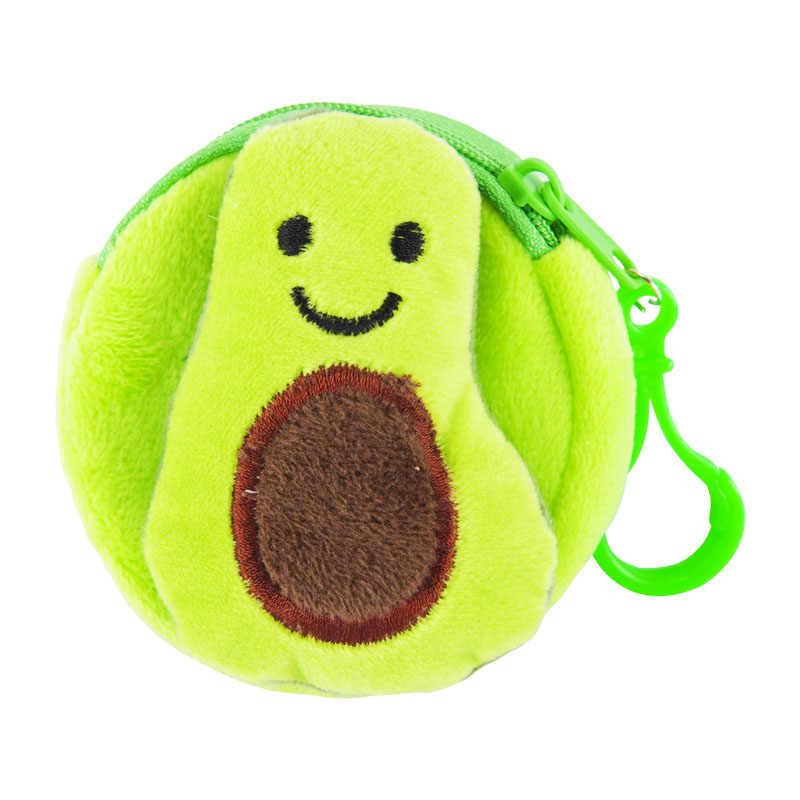 Monedero Kawaii de aguacate cero, bolsa para monedas, llavero con planta rellena de fruta para bebé, llavero para regalos creativos para niños