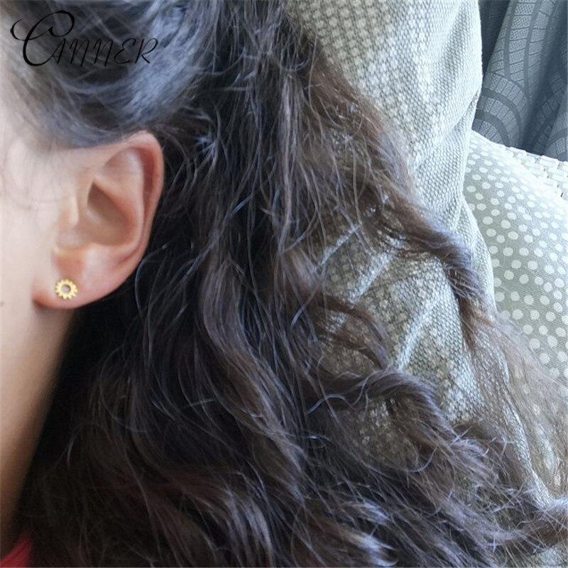 CANNER Minimalist Small Earring Simple Geometric Stud Earrings for Women Tiny Ear Studs Sun flower 925 Sterling Silver Earrings