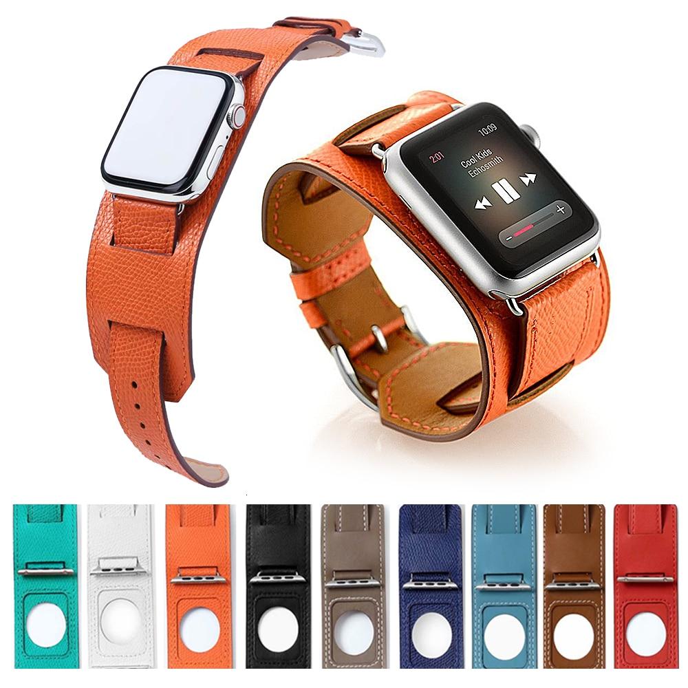 FOHUAS Banda de cuero genuino extralargo de lujo Pulsera doble correa de cuero Correa de reloj para Apple Watch 38 mm 42 mm En stock