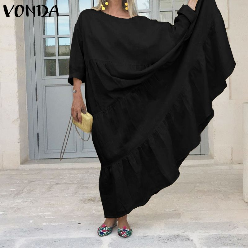 VONDA Bohemian Floor-Length Dress Women Sexy Off Shlouder Party Dress 2020 Autumn Casual Loose Vestido Female Sundress Plus Size