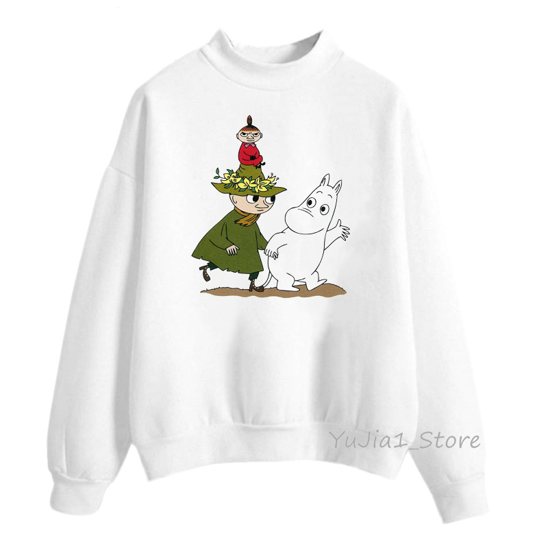 Winter 2019 Harajuku Kawaii Little My Moomin print Hoodies Women Funny Cartoon Sweatshirts Cute White Hoody Sweat Femme Clothes