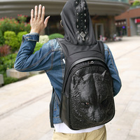 New personality PU backpack fashion animal backpack men and women silicone 3D bag stereo tiger head