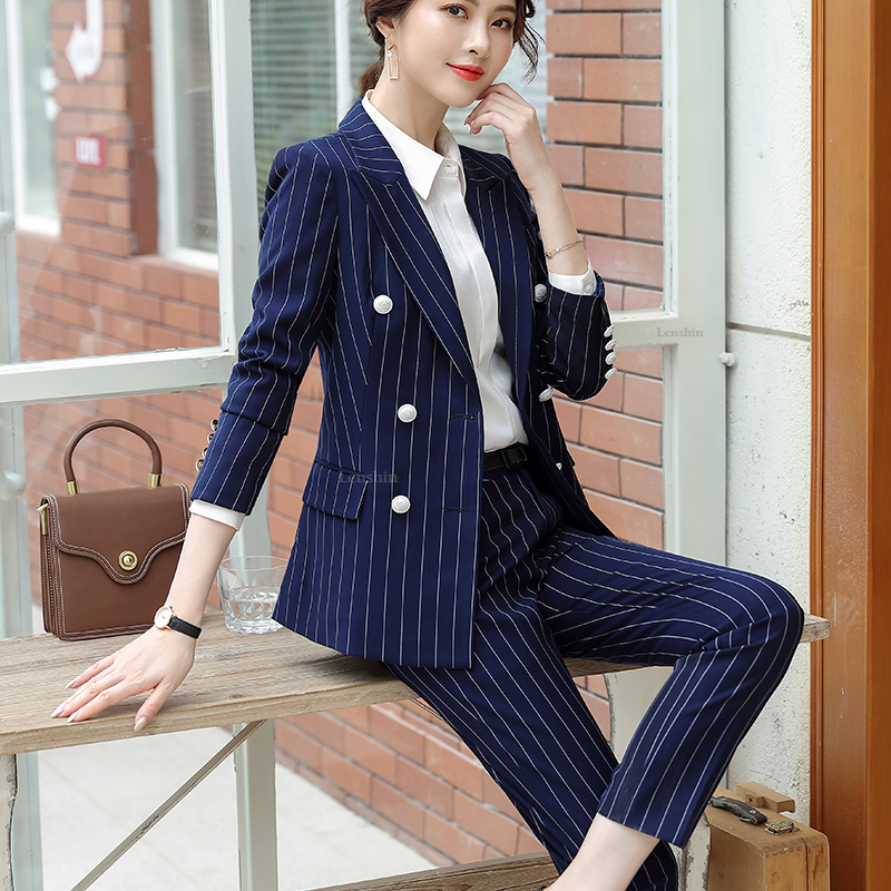 Lenshin High Quality 2 Piece Set Striped Formal Pant Suit Soft and Comfortable Blazer Office Lady Uniform Designs Women Business 21