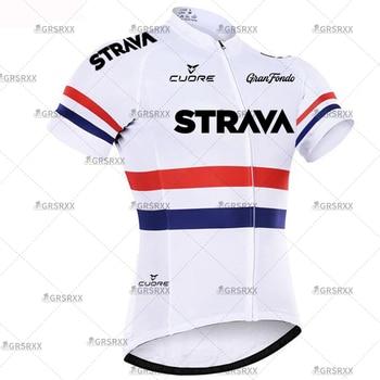 STRAVA Cycling Jersey Men Set Bib Shorts Set Summer Mountain Bike Bicycle Suit Anti-UV Bicycle Team Racing Uniform Clothes 22