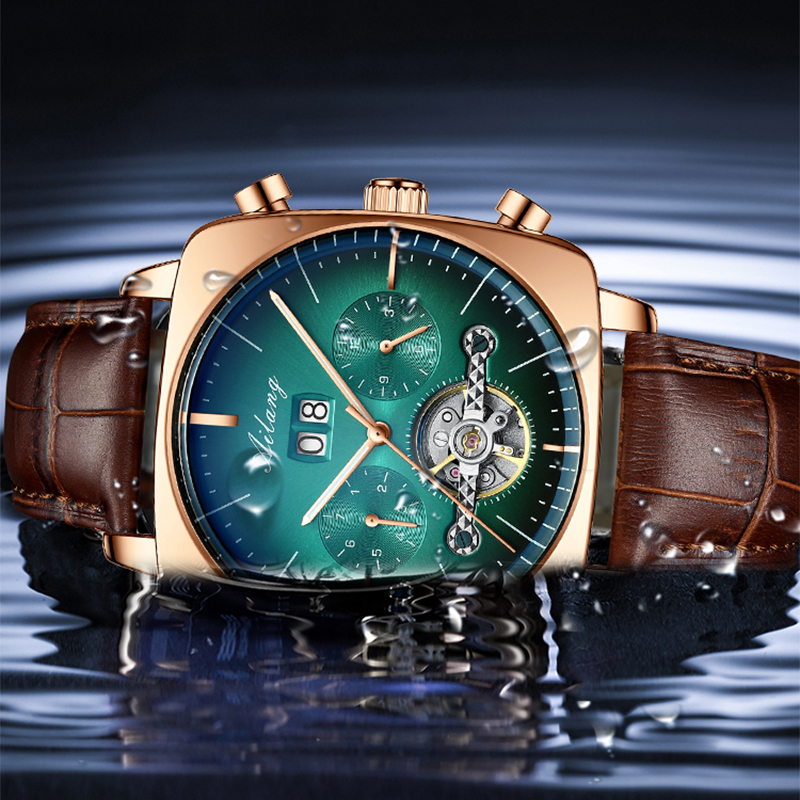 2021AILANG famous brand watch montre automatique luxe chronograph Square Large Dial Watch Hollow Waterproof mens fashion watches 3