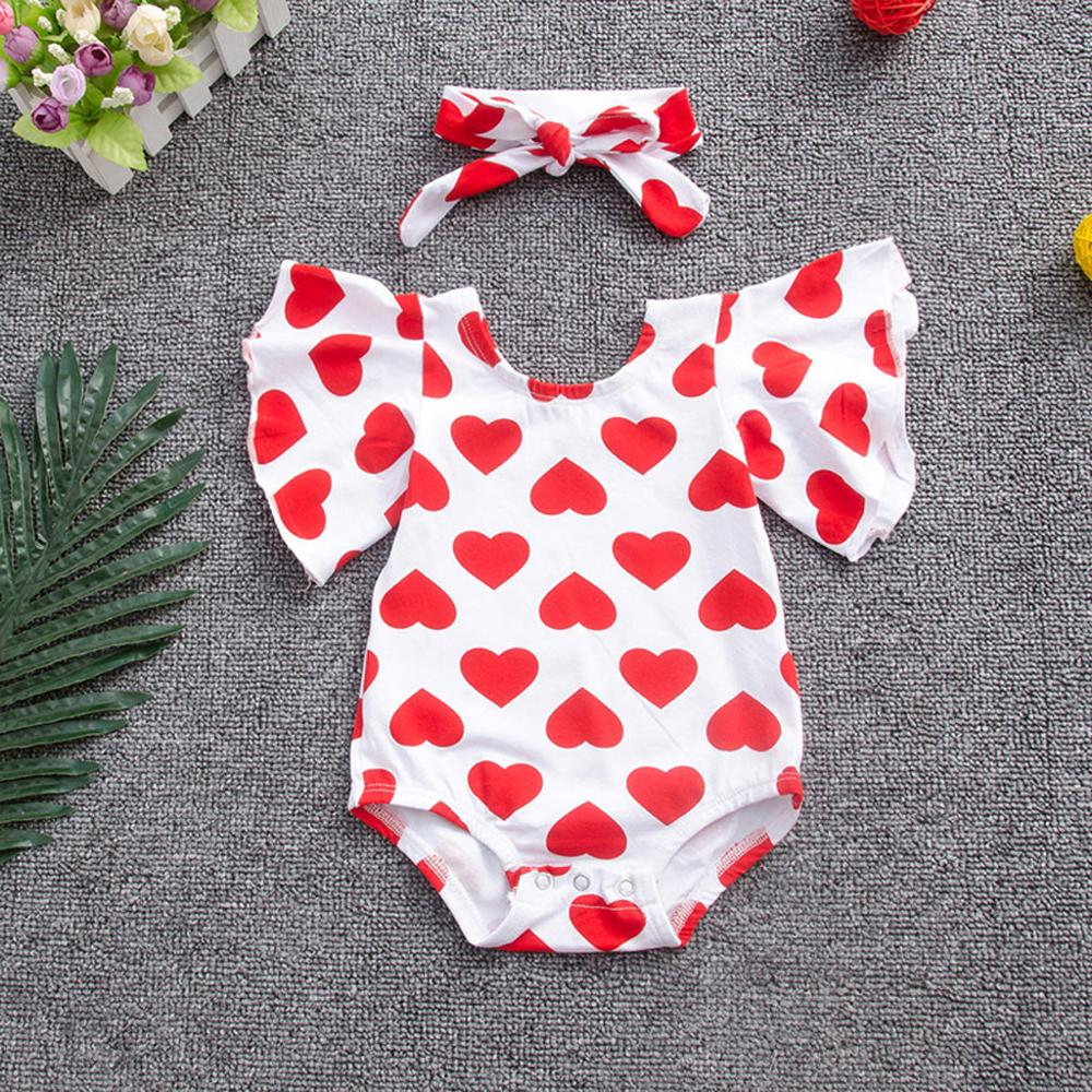 Newborn Girls Heart Print Ruffles Sleeve Jumpsuit+Headband Clothes Summer Bodysuit For Newborns Baby Girl Bodysuit RL2