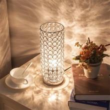 Хрустальная настольная лампа, элегантный прикроватный ночник, светильник для спальни, гостиной, украшения дома