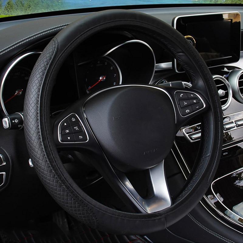 Universele Auto Stuurhoes Skidproof Auto Stuurwiel Cover Anti Slip Embossing Lederen Auto Styling Stuurhoezen    -