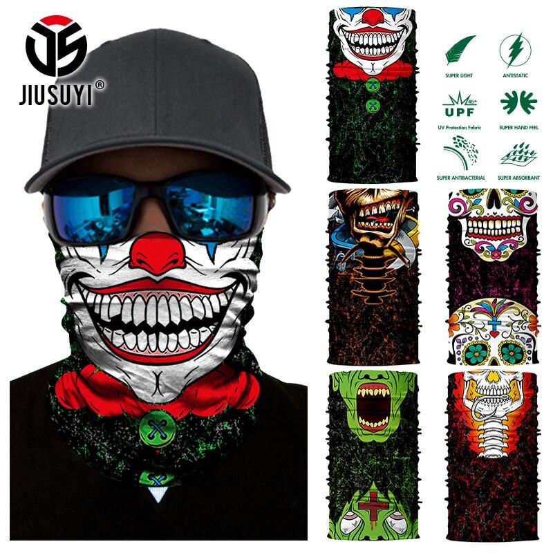 3D Seamless Magic Bandana Joker Clown Ghost Skull Tube Neck Warmer Face Cover Head Scarf Headband Headwear Snowboard Halloween
