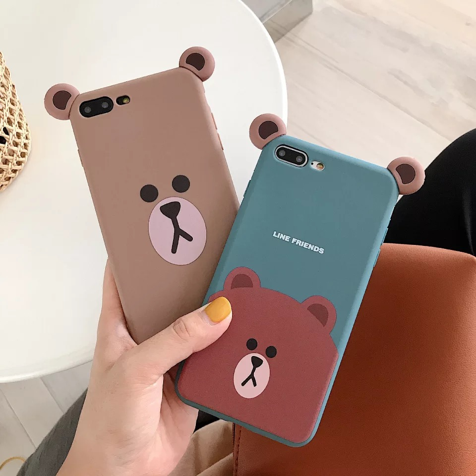 Ms Win Ins Lovely Line Bears Line Friends Phone Case For iphone11 11pro 6 7 8 XR MAX Soft Tpu Back Cover Coque Funda image