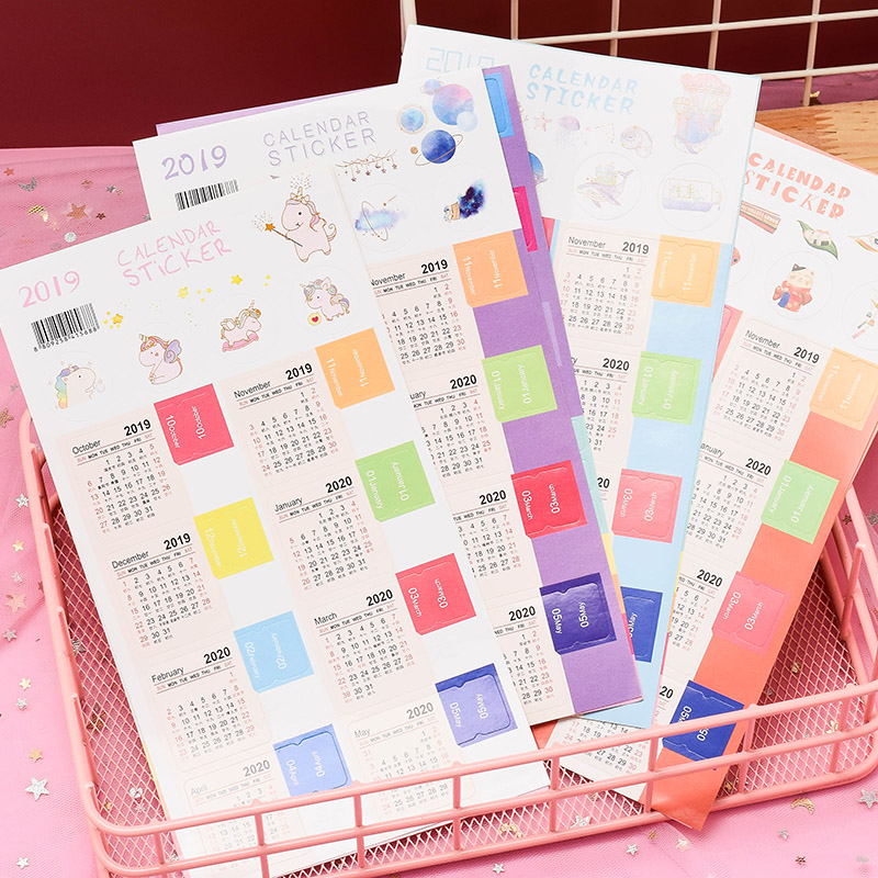2Pcs/Set 2020  Handwritten Calendar Sticker Notebook Index Label Sticker Schedule Planner 2019.10~2020.12