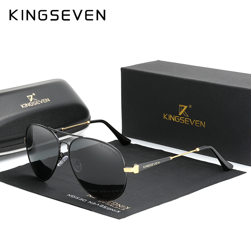 Мужские солнцезащитные очки для вождения KINGSEVEN, черные солнцезащитные очки для вождения в алюминиевой оправе с антибликовыми зеркальными п...
