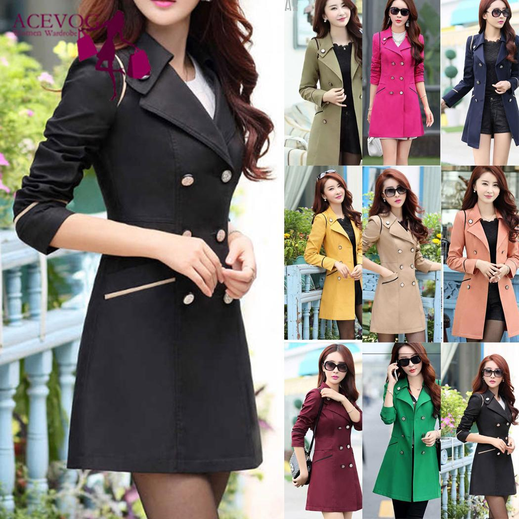 Women Casual Double-breasted Long Sleeve Fit Winter Slim Coat Turn Down Collar Solid