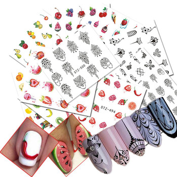 2018 New 12 Sheets/set Colorful Fruits Nail Art Transfer Sticker Flower Geometric Manicure Wraps Decor