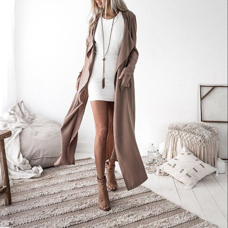 Tops Long-Coat Trench Outerwear Windbreaker Female Fashion Women's Open-Stitch