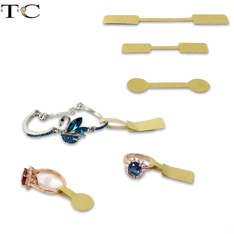 Karft Paper Jewelry Price Tag Rectangle Round Shape Self-Sticker Label Jewellry Store Tool Ring Bracelet Jewelry Tags 50pcs/Lot