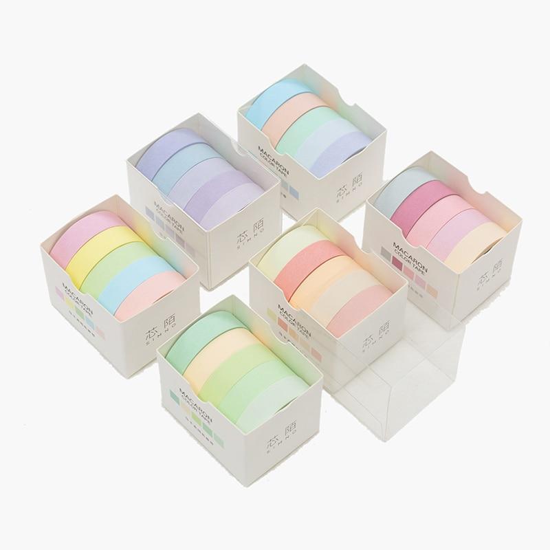 5pcs/lot Decorative Washi Tape Diy Rainbow Sticker Masking Paper Set For Diy Crafts Planners Scrapbooks Bullet Journals Cards