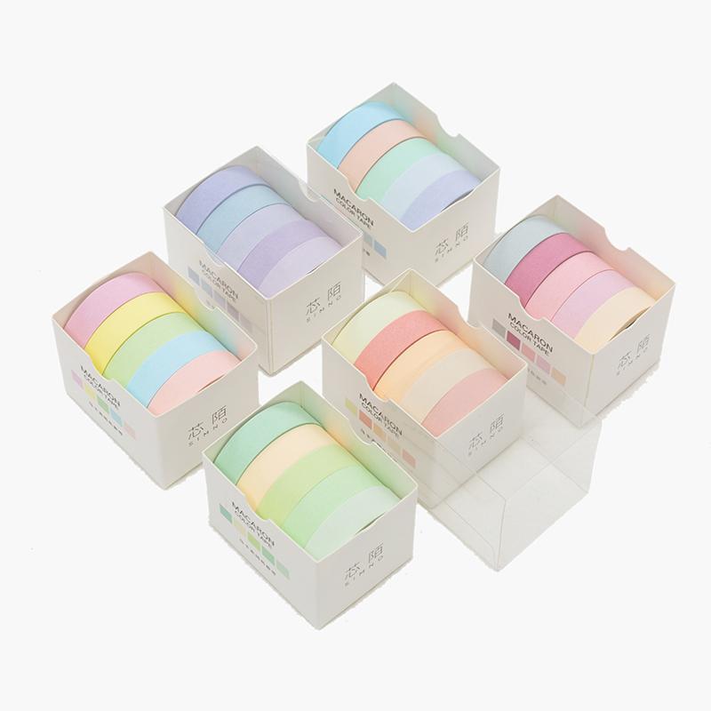 5pcs/lot Decorative Washi Tape Diy Rainbow Sticker Masking Paper Set For Diy Crafts Planners Scrapbooks Journals Cards