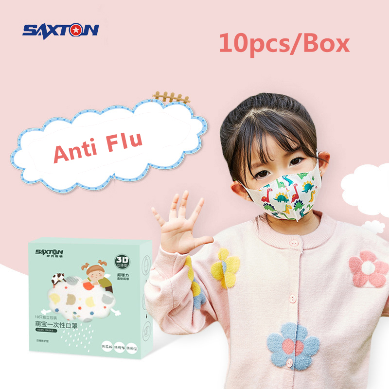 10pcs/box Children Baby Masks 4 Layer Safety Protection Anti Flu Kids Face Mask Anti Dust PM2.5 Cartoon Cotton Unwashable