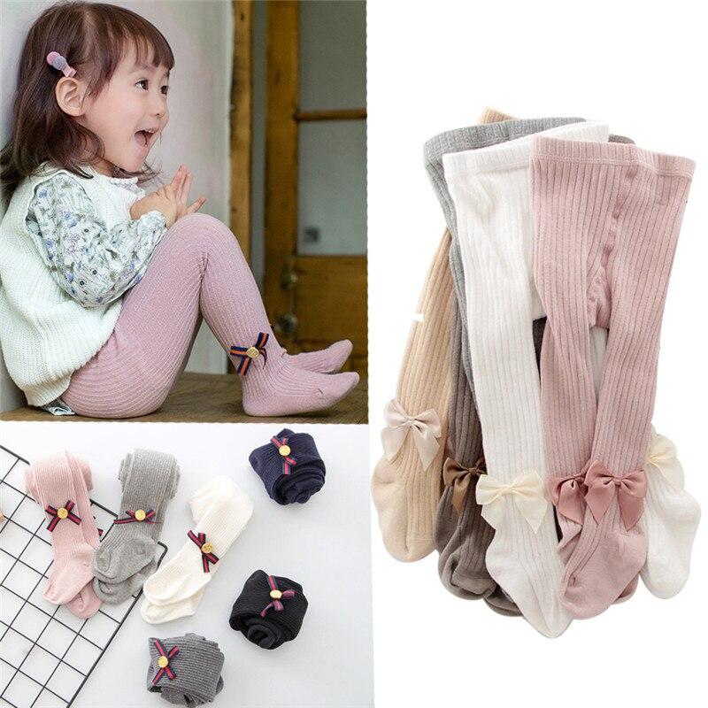 Детские хлопковые колготки для девочек 0-8 лет, весна-осень-зима, вязаные колготки с бантом для младенцев